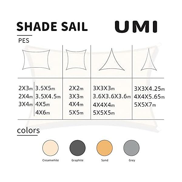 Amazon Brand – Umi. Toldo Vela Triángulo De Tejido Impermeable con Protección UV Y Cuerdas para Instalación En Patios, Azoteas Y Jardines