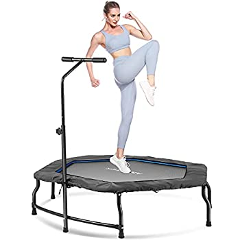 ANCHEER Foldable Trampoline 50-inch Fitness Trampolines for Adults Kids Rebounder with 3 Levels Adjustable Foam Handle Safe Silent Easy Installation Max Load 220lbs