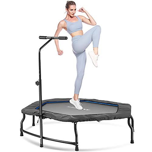 ANCHEER Foldable Trampoline, 50-inch Fitness Trampolines for Adults Kids Rebounder with 3 Levels Adjustable Foam Handle, Safe Silent Easy Installation, Max. Load 220lbs