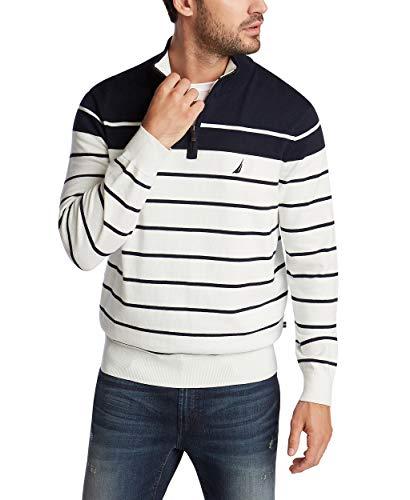 Nautica Men's Navtech Quarter-Zip Sweater in Engineered Stripe, Marshmallow, Medium