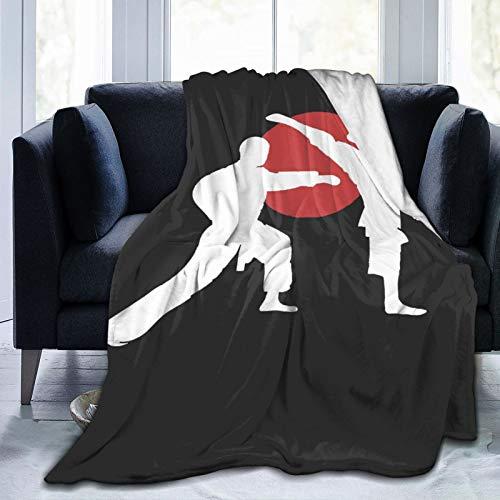 XUZHEN - Coperta in pile di flanella per due karate fighter per tutte le stagioni, ultra morbida, leggera, calda, ideale per casa, viaggi, divano e poltrona, per divano