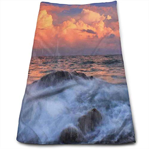 Stormy Sky Dense Clouds At Horizon and Wavy Sea At Rocky Bay At Sunrise,Soft Absorbent Hand Towels Multipurpose for Bathroom, Hotel, Gym and SPA (12' x 27.5')