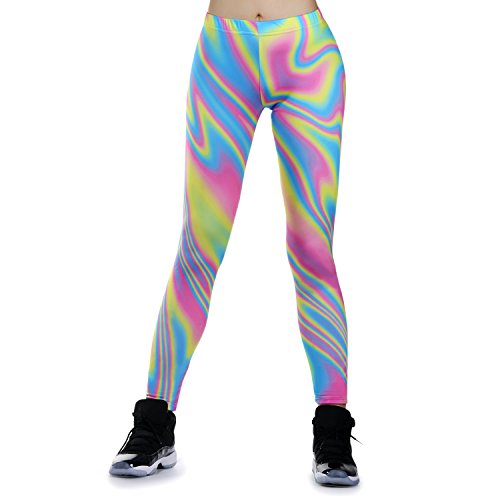 JewelryWe Damen Strumpfhose Sport Regenbogen Streifen Print Yoga Leggings Workout Fitness Running Pants Hose Mehrfarbig - Größe XL(EU 40-42)