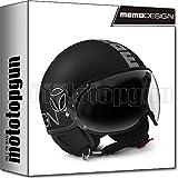 MOTOTOPGUN Momo Design - Casco de moto Jet Fighter Classic, color negro mate y plateado, talla S