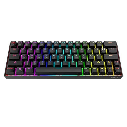 Dierya 60% mechanische Gaming-Tastatur, Bluetooth 4.0 Verkabelte/Kabellose Computer-Tastatur - 63 Tasten Kompakt mit RGB-Hintergrundbeleuchtung, 1900 mAh Batterie(Blauer Schalter-Black) QWERTY Layout