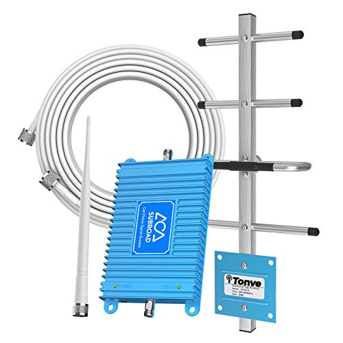 Verizon Cell Phone Signal Booster 4G LTE Subroad Cell Signal Booster Verizon Cell Phone Signal Amplifier/Mobile Phone Signal Booster 700Mhz Band13 Repeater FDD with Whip+Yagi Antenna kit for Home