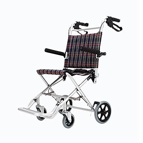 YDYBY Plegable Silla de Ruedas para Transporte, Facilita el traslado de usuarios con Freno de manija Cojín Transpirable Transit Chair Carretilla Asistente Silla de Ruedas,Marrón