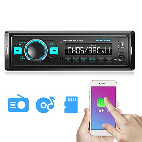Car Stereo, Single Din LCD DAB Digital Radio with Bluetooth Read Card Read USB Flash Disk MP3 Dual USB Ports Support Hands-Free Calling