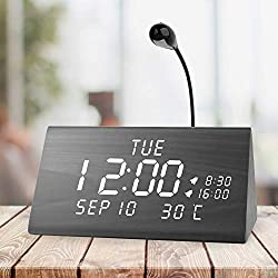 MEKO Wood Digital Alarm Clocks for Bedrooms, Larger LED Display, 3 Levels Brightness, Dual Alarms, 3 Levels Volume Snooze Function and Nightlight Wooden Electric Besides Clock