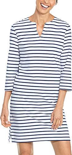 Coolibar Tunikakleid UV-Schutz 50+ Femme, Blanc - Navy/Weiß Stripe, S (Taille fabricant: S)