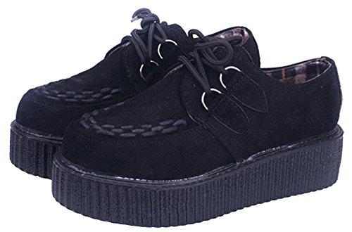 Wealsex Damen Plateau Schuhe Low top Sneaker Gothic Punk Creepers Schuhe(Schwarz,39)