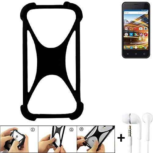 K-S-Trade® Handyhülle Für Archos 40 Neon Schutzhülle Bumper Silikon Schutz Hülle Cover Case Silikoncase Silikonbumper TPU Softcase Smartphone, Schwarz (1x), Headphones