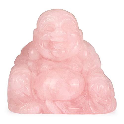 Artistone 2.0' Buddha Statue, Rose Quartz Healing Crystal Hand-Carved Gemstone Crystal Religion Sitting Buddha Figurine Statue with Gift Box
