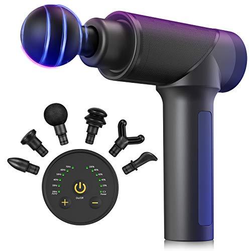 Massagepistole,Deep Tissue Handheld Percussion Massagegerät mit 6 Massageköpfen und 6 Geschwindigkeiten,leises und wiederaufladbares Muskelmassagegerät mit 2600 mAh für Sport/Fitness/Bewegung