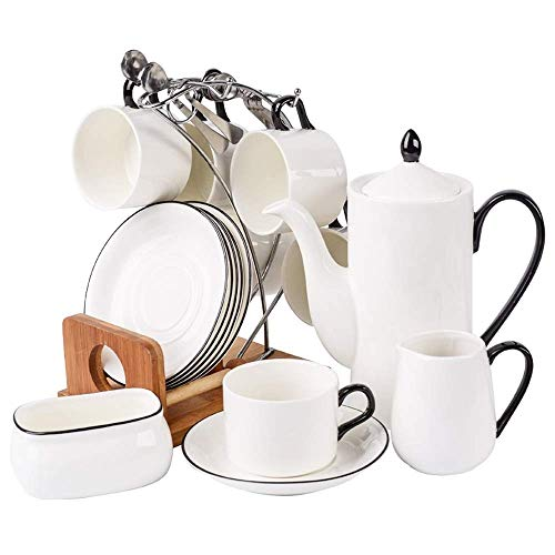 Porselein Reeks van de Koffie en thee bekers, Sets Porcelain Ceramic Koffie en thee Gift met Theepot Sugar Bowl en Creamer Pitcher, Engels Afternoon Tea Cup Tea Set
