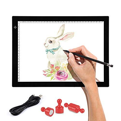 SAMTIAN LED Leuchttisch A4, Licht Pad stufenlos dimmbare LED Leuchtplatte Ultradünn Lightpad Leuchtkasten mit Speicherfunktion, Zeichenbrett Ideal für Malen Skizzierung Animation