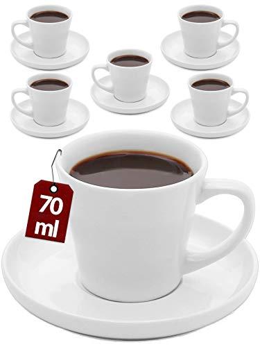 Cosumy Espressotassen 6er Set aus Keramik Weiß - Mit Untertassen - Hält Lange warm - Geschenkbox - 70ml
