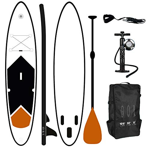 ToCi - Tavola da surf gonfiabile XL | 320 x 76 x 15 cm | con zaino e pagaia telescopica in alluminio | con pompa a 2 vie, Colore: arancione.