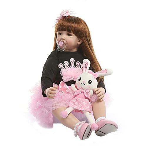 DERUKK-TY Reborn Baby Doll Juguetes como Real Princess Toddler Babies Silicona Vinilo Muñecas Niñas Regalo de cumpleaños Casa de Juegos 60cm