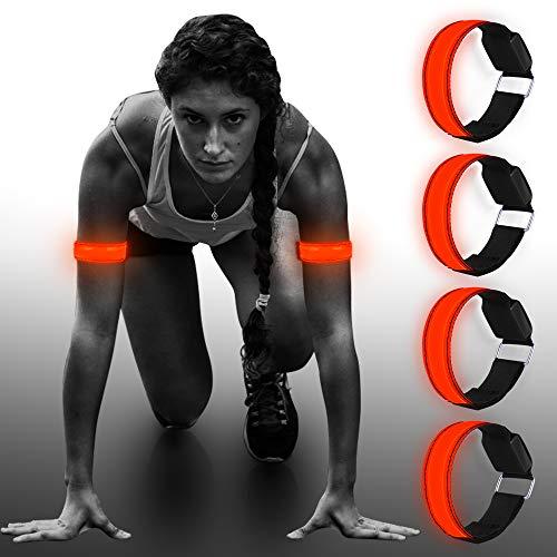 Vivibel LED Armband, 4 Stück Laufen Reflektor Leuchtband LED Reflektoren Joggen Reflektorband, Kinder Nacht Sicherheits Licht für Laufen Joggen Radfahren Hundewandern Running Outdoor Sports(Rot)