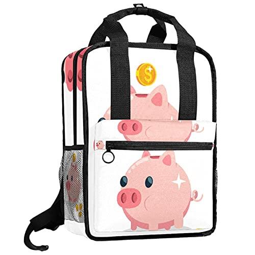 ATOMO Mochila escolar de viaje para mujeres y hombres estudiantes universitarios caja de dinero cerdo