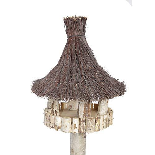 Vogelhaus inkl. Ständer – Birke Natur runder Pavillon mit Dach aus Birkenreisig - 2