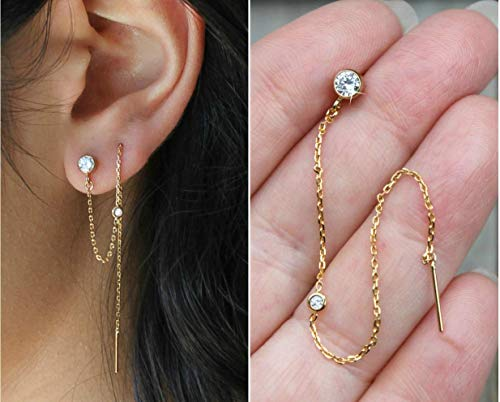 Cubic Zirconia Threader earrings, 14k gold filled CZ Diamond post stud, double piercing, connected earrings, thread, potionumber9