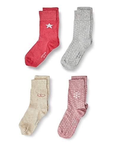 Camano Unisex Kinder 1106044 Socken 4-er pack, winter berry, 23/28