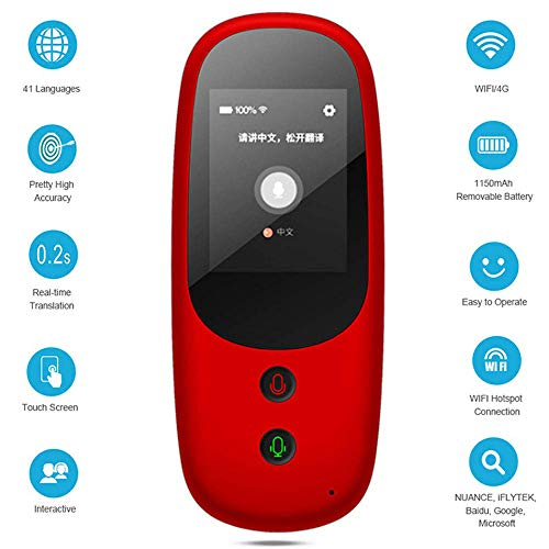 4G Intelligente spraakoverdracht, 41 wifi-talen, online overbrengfunctie met 2,4 inch touchscreen en accu met grote capaciteit, voor reizen/leren, etc, rood