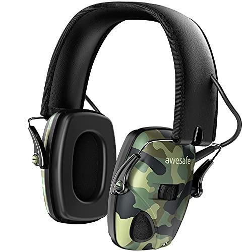 AWESAFE GF01 Casco Tiro Auriculares de Caza Protector Auditivo del Oído con Tecnología de Cancelación de Ruido Protectores Auditivos Especialmente Diseñados para Cazadores y Tiradores -Camuflaje