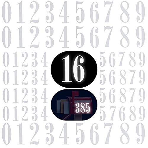 70 Pieces Reflective Mailbox Numbers Sticker Decal Die Cut Roman Style Vinyl Waterproof Self Adhesive 0-9 Number Mailbox Sticker for Sign, Door, Car, Address Plaque (3 Inch x 4 set , 4 Inch x 3 set)