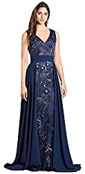 Navy Lara 33531 Long Dress Sleeveless Plunging Neckline