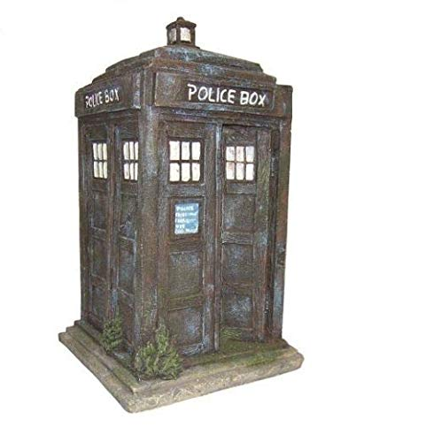 HERITAGE BM151s AQUARIUM FISH TANK BLUE POLICE BOX ORNAMENT HANDPAINTED DECORATION 17.5CM HIDE