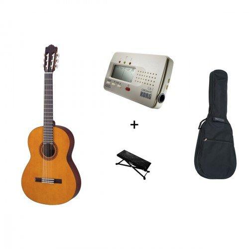 Yamaha C40 - Kit con chitarra classica, custodia, poggia piede e accordatore