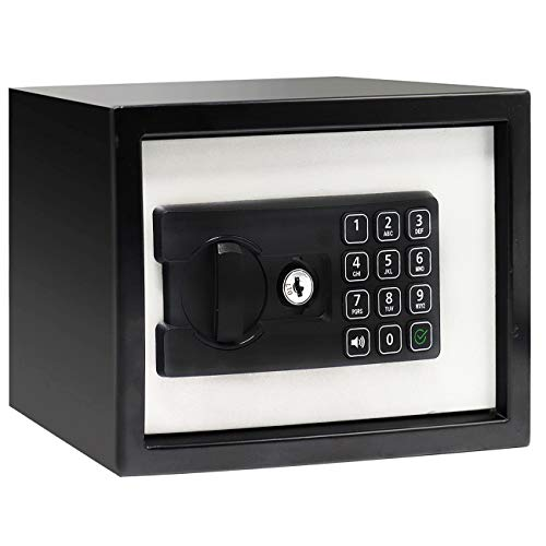 Jolitac Digital Security Cabinet Safe Box Solid Steel, Small Electronic Depository Safe w/Deadbolt Lock Wall-Anchoring Home Office use for Deposit Money Gun Jewelry Cash 9