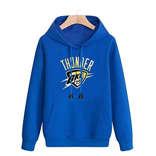 CHANG Tuta NBA Felpa con Cappuccio Oklahoma City Thunder, Modello Stampato T-Shirt da Basket Manica Lunga da Uomo A Manica Lunga Maglie,Blue-M