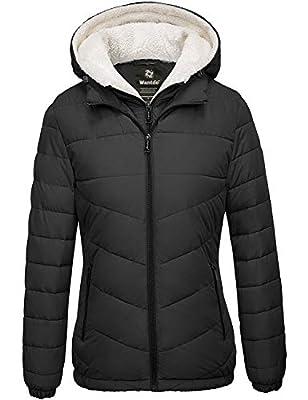 Wantdo Women Windproof Winter Coats Hooded Lightweight Puffer Jacket Black Large by