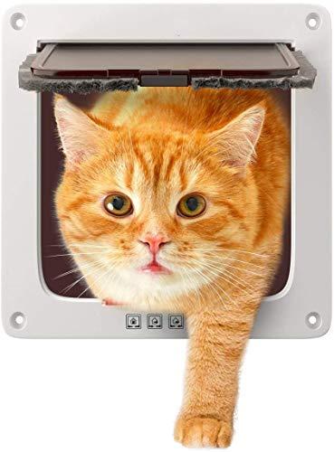 Sailnovo Puerta para gatos y perros pequeños, cierre magnético de 4 vías