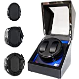ORYX Double Watch Winders for Automatic Watches Box, Watch Rotator for 3 Sizes Watches with LED Light, Rotating Watch Case, Watch Shaker, Ac or Battery Powered Super Quiet Mabuchi Motor(Black+Black)
