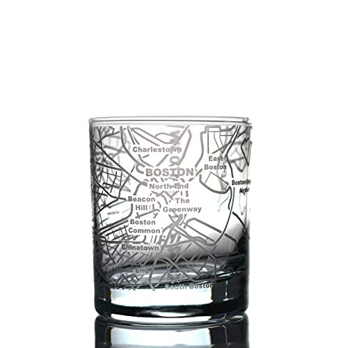 Greenline Goods Whiskey Glasses - 10 Oz Tumbler for Boston Lovers (Single Glass) | Etched with Boston Map | Old Fashioned Rocks Glass