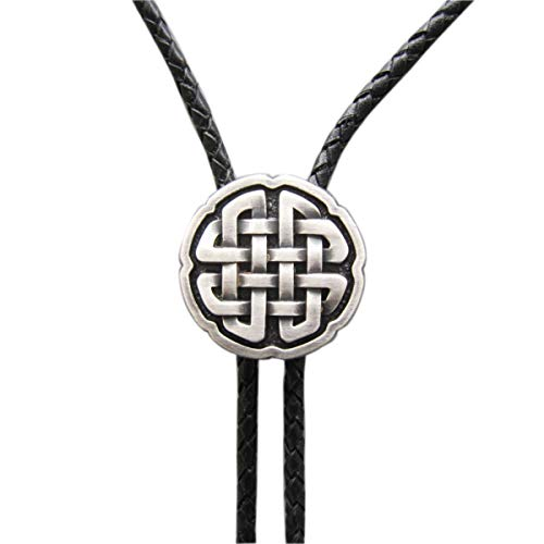 Vintage Real Silver Plated Celtic Cross Knot Bolo Tie Leather Necklace Stock in US