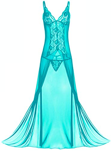 Avondii Damen Nachtwäsche Große Größen Elegant Lang Nachtkleid mit Panties J1003 (L, B - Blau)