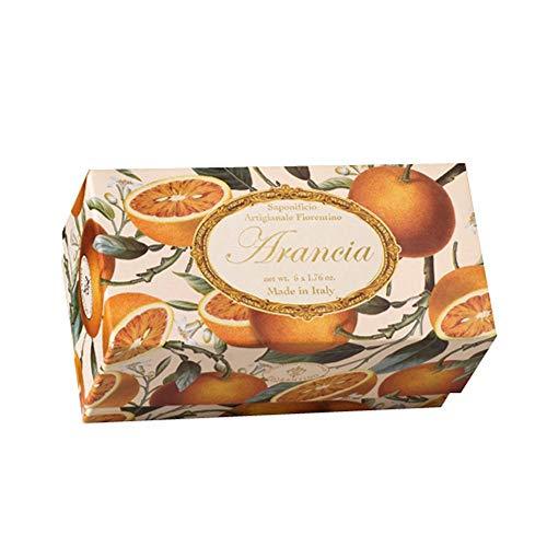 Sapone Arancia, Confezione regalo 6 saponette ospite, lavorazione artigianale, rotonde scolpite con giglio a rilievo, 6 x 50g