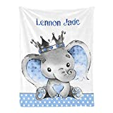Personalized Baby Blanket, Elephant Prince Custom Nursery Swadding Blankets 30x40 Inches for Baby Boy Girl with Name Baby Shower Birthday Gift