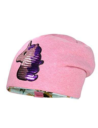maximo Baby-Mädchen aus Jersey mit Wendepailletten Einhorn Mütze, Rosa (Pinkmeliert 85), (Herstellergröße: 49)