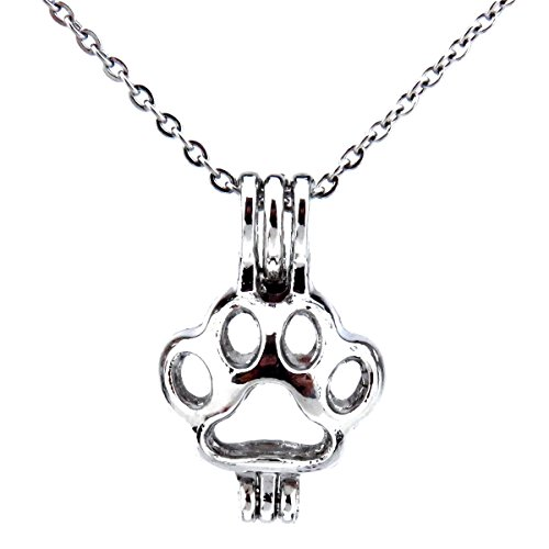 Horse Beads Cage, Horse Locket Necklace, Stainless Steel Chain, Create Your own Pearls, Stones, Rocks (cat Footprint)