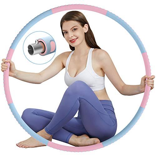 TvvaaFog Fitness Erwachsene Hoop, Stabiler Edelstahlkern mit Premium Schaumstoff, Komfortabler und Längeres Leben, 1,2 kg zum Abnehmen (Pink-Blau)