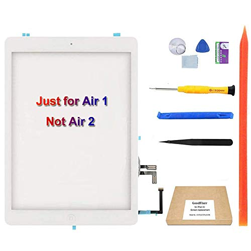 GoodFixer Digitizer Touch Screen Replacement for iPad Air 1st Generation(White), with Home Button, Complete Repair Tools Kit, Camera Holder [365 Days Warr]