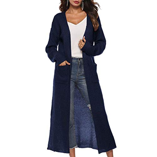 mijn kat Womens Cardigan lange kant Split Effen kleur gebreide trui onregelmatige slanke jas