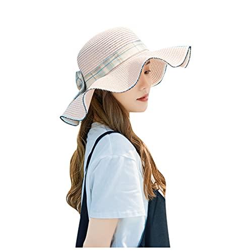 BIBOKAOKE Cappello di paglia estivo, da donna, con bel fiocco e fiocco B5 Taglia unica